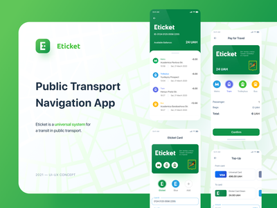 Eticket App — Green Ver. balance navigation map topup bank card travel banking app banking transfer money transport payment app payments app colorful ux design ui design user inteface