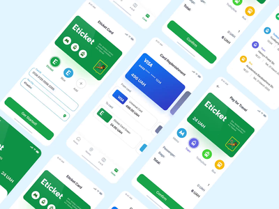 Eticket App - Green ver. ticket app travel transport transfer transfer money bank credit debit card payment bank account banking app banking payment form payment payment app app colorful ux design ui design user inteface