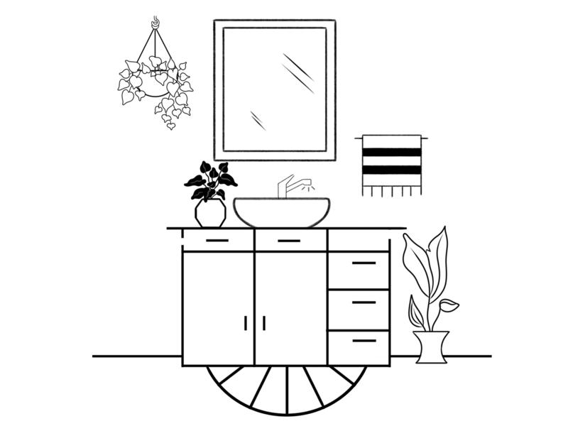 Bathroom doodle art doodles plants home black and white productdesign ink lineart line dribble illustration illustration art