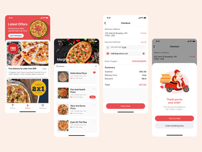 Fast Pizza - A Food Delivery App Design - Part 2 online pizza delivery pizza delivery food delivery fast pizza fast food app delivery app pizza app food pizza
