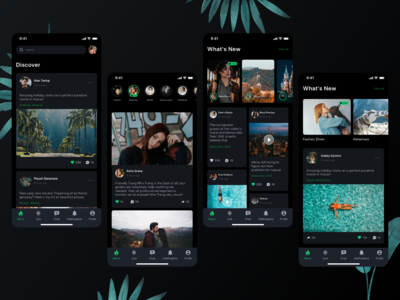 Dark Mode Social platform UI Kit - Part 1 darkmode dark mode ui kit ui social app instagram social