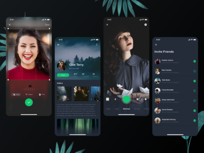Dark Mode Social platform UI Kit - Part 3 selfie following profile photo app take photo dark mode darkmode social app app social