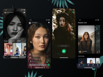 Dark Mode Social platform UI Kit - Part 4 beauty app live video live app darkmode dark mode social