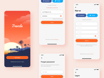 Travela - A Travel and Hotel booking App (Part-1) travela booking app travel app ui sign up forgot login splash booking hotel travel
