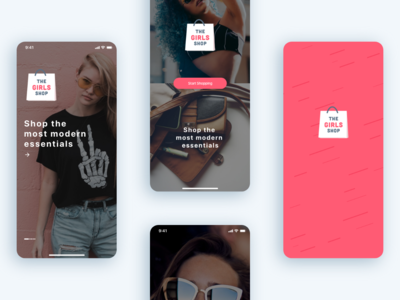 The Girls Shop - Shopping App UI KIT (Part 1) splash screen walkthrough screen intro splash clothes girl fashion shopping shop