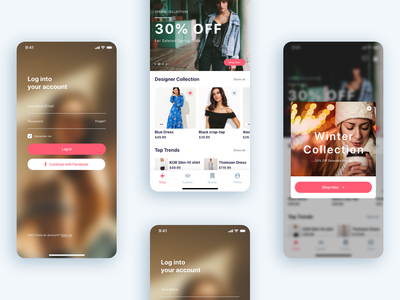 (Part 3) The Girls Shop - Shopping App UI KIT advertising popup modal home shop app walkthrough screen onboarding screen login the girls shop shop shopping shopping app