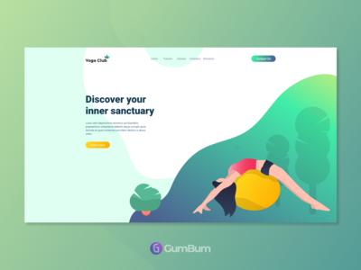 Yoga Club - Landing page by Adobe XD Freebie