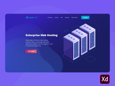 Enterprise Hosting Landing page by Adobe XD (Freebie)