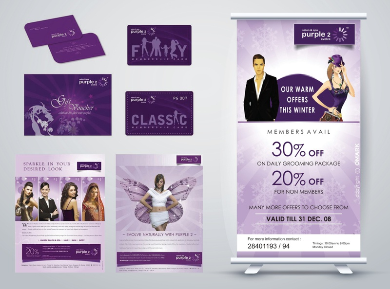 Purple 2 Salon & Spa - Brand Materials business card membership card point of sale marketing campaign magazine ad brand identity