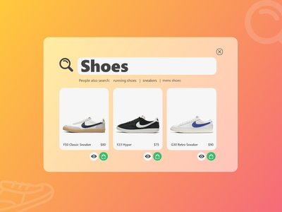 #DailyUI - Day 22 - Search search results search search bar shoes store dailyui ux ui