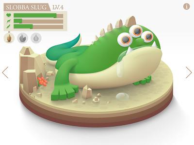 Monster platform stand environment monster slug drool interface game vector video game bad guy