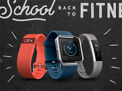 Back to School. Back to Fitness.  fitness trackers chalkboard back to school fitbit