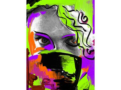 Digital Art - Teacup abstract art paint digitalpaint color collage applepencil ipad digitalpainting