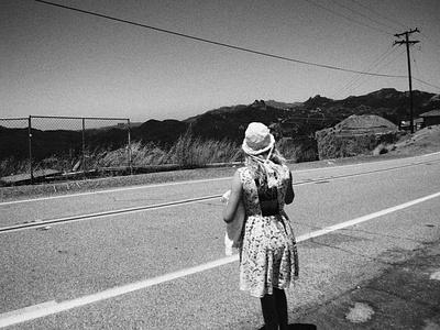Latigo Canyon california girl road blackandwhite photograph photo photography