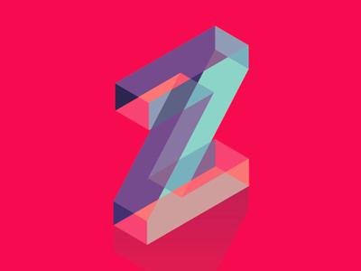 Dropcap Z type typography typo lettering isometric alphabet dropcap