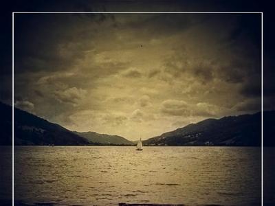 Dark Sea landscape hills ship water sea