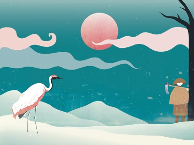 Winter Crane japanese crane illustration digital art art