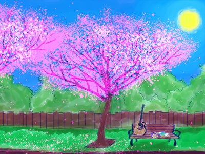 Guitar Under the Tree drawing illustration