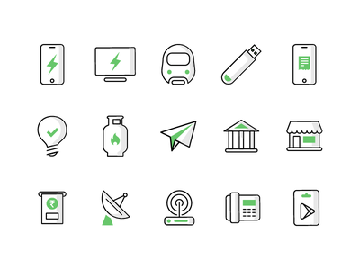 OLAMONEY Icons bank send gas bill data metro recharge icons money ola