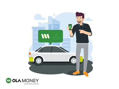 Ola Money Walkthrough Screen app cab ride cashless olacabs walkthrough illustration money pay payment