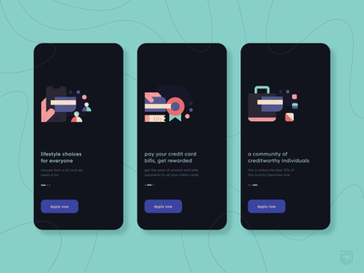 CRED 2.0 | Onboarding Walkthrough fintech mobile vector ui branding illustration minimal cred dark mode dark light clean illustrator geometry pastel product product illustration