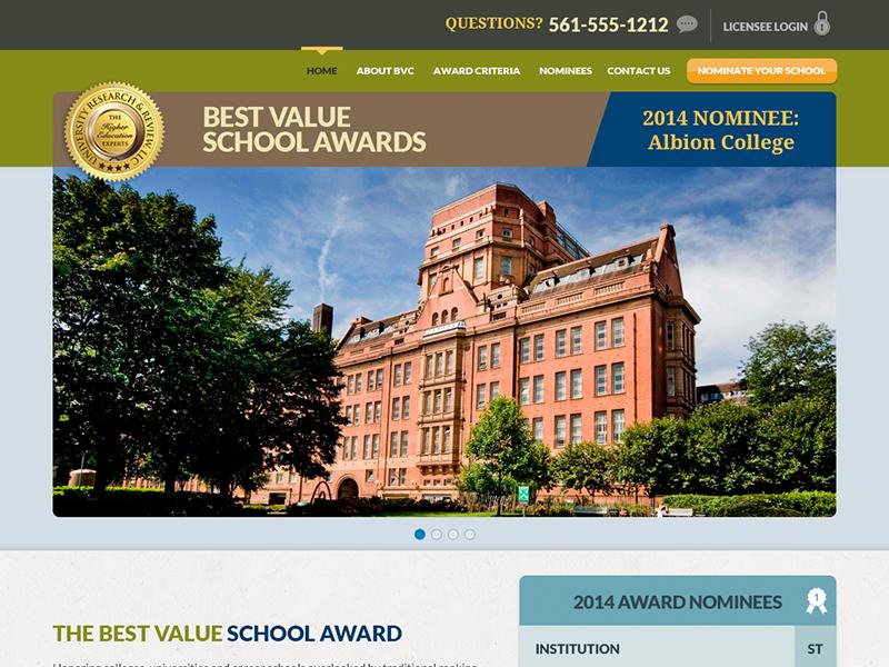 BestValueColleges interface design web site student school university layout
