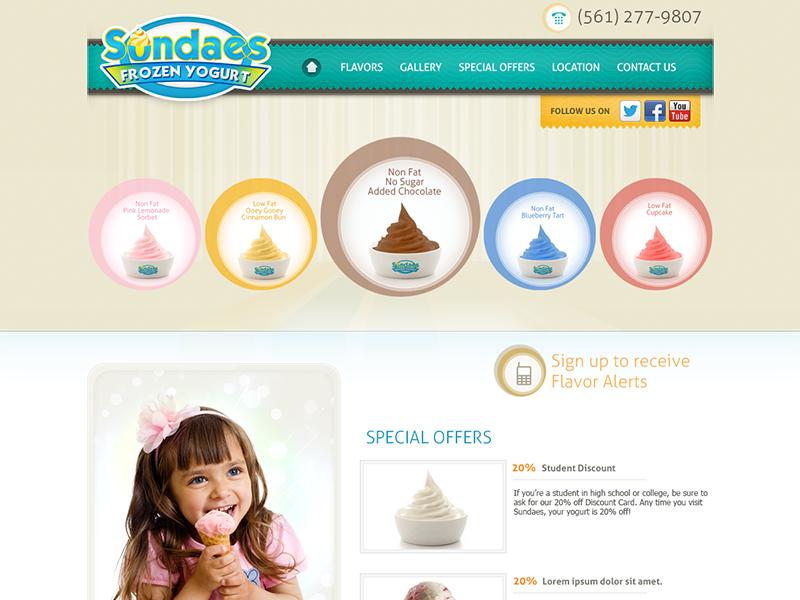 Sundaes Frozen Yogurt design interface web site layout minimal