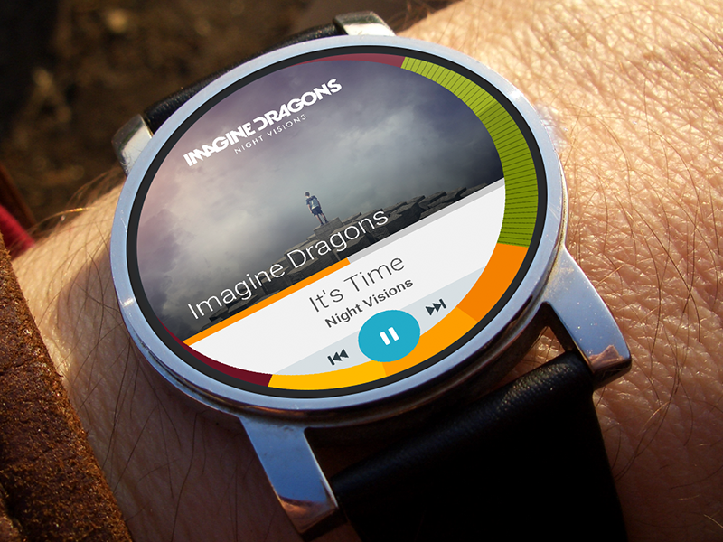 Music Player - Android Wear interface layout flat ui app desing music player