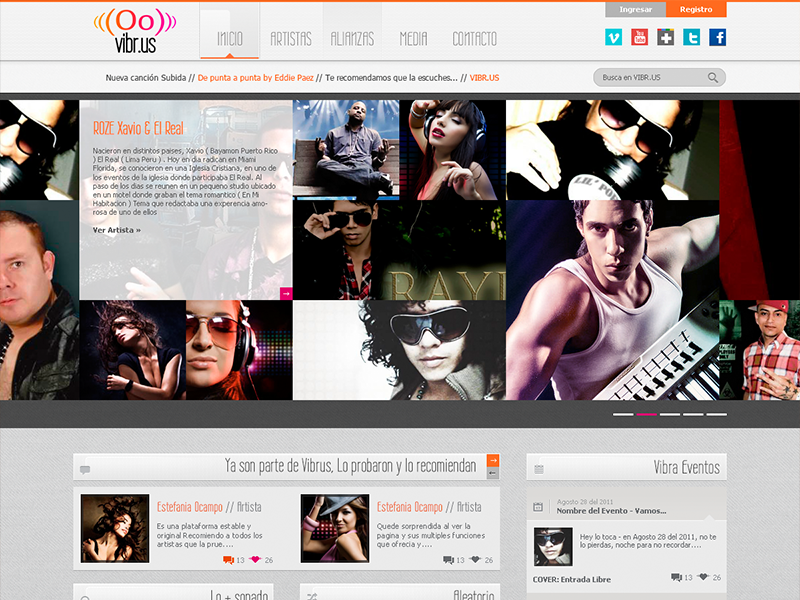 Vibr.Us design interface web site layout player music