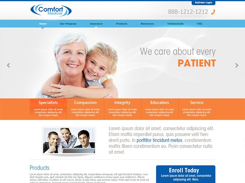Comfortmedical flat design design interface web site layout minimal