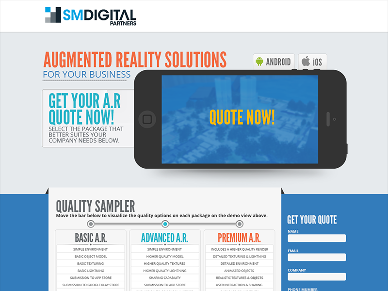 Landing Ar SMDigitalPartners minimal layout web interface design landing