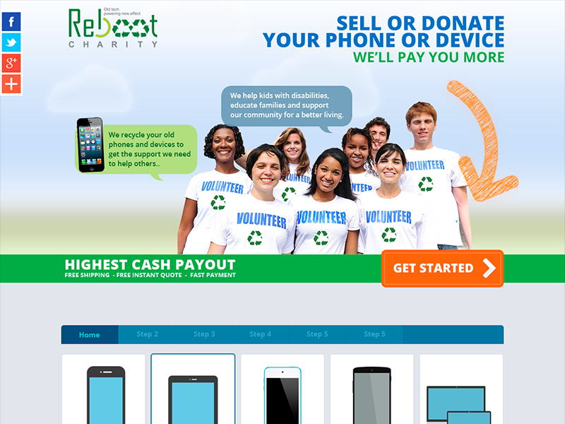Reboot Charity landing design interface web layout minimal flat design
