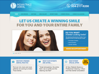 Indian Trace Dental minimal layout site web interface design flat design