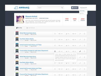 Profile Page  profile page website design ui ux login files listing edit delete views state