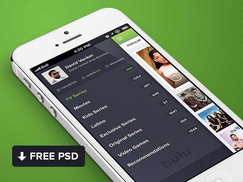 Hulu iPhone app design Free PSD freebie photoshop free mockup iphone app file website design psd ios mobile