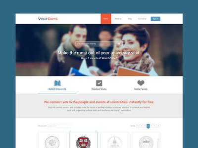 Visit Days Homepage Design schedule website visit days homepage design ui ux universities university students icons logo