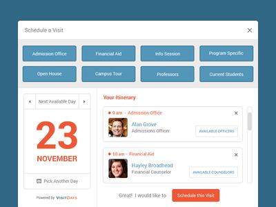 Schedule a Visit - Widget design university widget schedule visit itinerary book responsive grid date calendar website