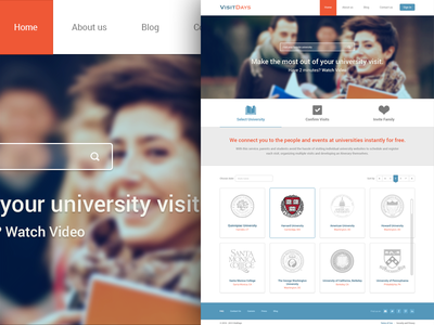 VisitDays interface signup signin university website design responsive ui user experience web homepage subpage widget