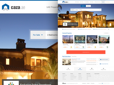 Property Homepage - Caza.ae homepage property broker properties search main page listing clean dubai real estate news creative