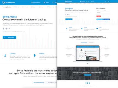 Borsa Arabia Landing Page landing page user experience social network flat creative user interface website website design stock market homepage wireframes profile
