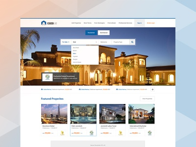 Real Estate / Property Listing Website property listing real estate homepage retina ux wireframes emirates dubai complete project property finder cards