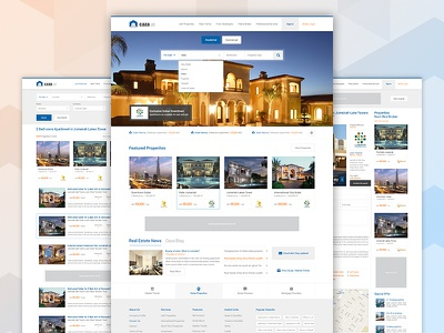 Property Listings / Search / Details Page real estate subpages ui ux listings complete project dubai homepage interface emirates property website property finder