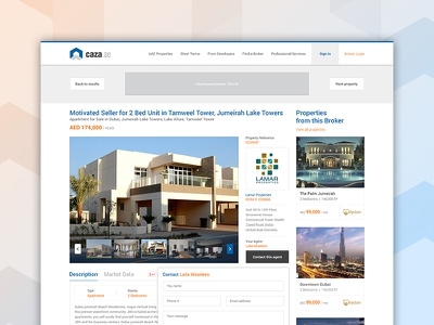Property Details Page subpages interface property finder homepage complete project ux ui emirates uae real estate dubai property website
