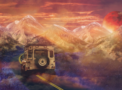 Fantasy Adventure - Course Project photoart photoedit car galaxy sky road coursework adventure surreal illustrations creative photoshop illustration graphicwork graphicdesign graphic photomanipulation adobe photoshop adobe fantasy
