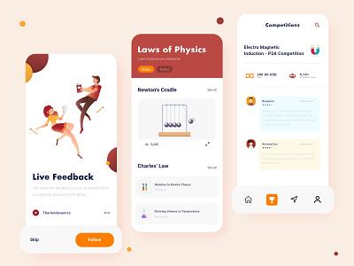 Physico - Mobile Educational App application thermal physics study educational education app education app design app graphicdesign illustration designer design art typography ux vector ui design creative