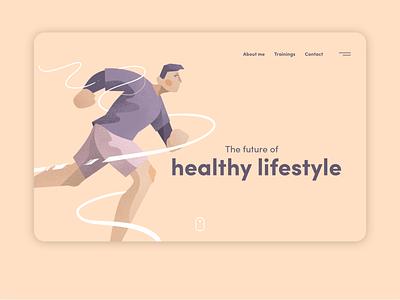 Lifestyle website lifestyle running runner run fitness fit illustration art minimalistic website design web design branding ux ui website web