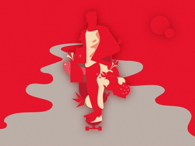 Illustration 2.0 fit red skateboard vector branding illustration design art minimalistic
