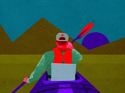 Canoe rafting extreme sport illustration design art minimalistic