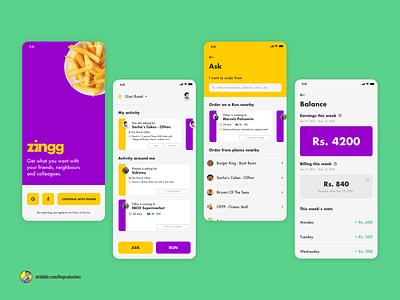 Zingg — Community-powered Delivery App ui ux mobile app uidesign ui uiuxdesign uiux design