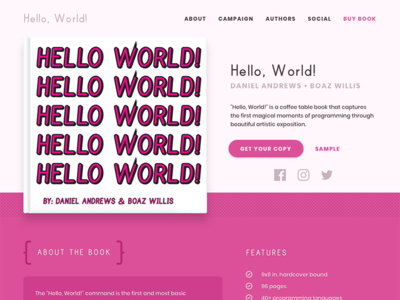 'Hello, World' Book Landing web design book ui ux landing